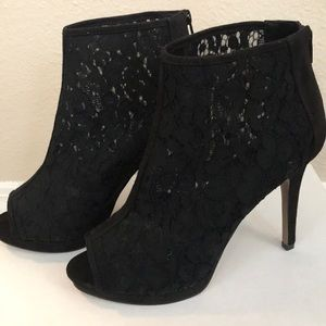 Black lace booties